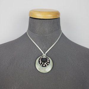 Lia Sophia Grey Rhinestone Chord Necklace